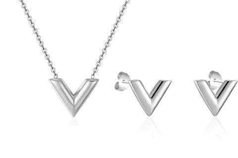 Designer Inspired-V-Charm-Necklace-Pendant Earrings Set -For-Woman-Titanium-steel-Luxury-Brands-Jewelry-LV-Louis-vuitton-Style-Silver 1