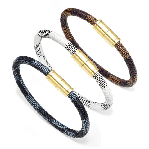 Confidential Vegan Leather Wrap Bracelet LV Style Louis Vuitton Mens Womens Luxury Brand Gold Black Brown White