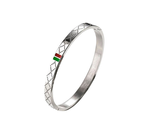 Dotted-Stripe-Bracelet-Bangle-Italian-Designer-Inspired-Gucci-Mens-Womens-Monogram-Titanium-Steel-Luxury-Brand-Gift-Silver