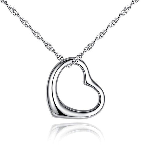 Designer Inspired Silver Open Heart Necklace Pendant Chain Tiffany and co Style Elsa Peretti Gifts for women