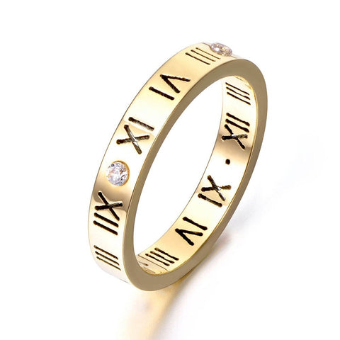 Roman Numeral Swarovski Crystal Love Ring Titanum Steel Womens Girls Gift for Girlfriend Christmas Birthday Gold