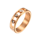 Triple Swarovski Crystal Love Ring Titanium Steel Cartier Style Designer Inspired Womens Girls Gift Rose Gold