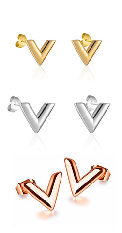 Titanium Steel V Shape Love Earrings