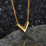 Titanium Steel V Shape Love Charm Necklace 17.5 inch 45 cm
