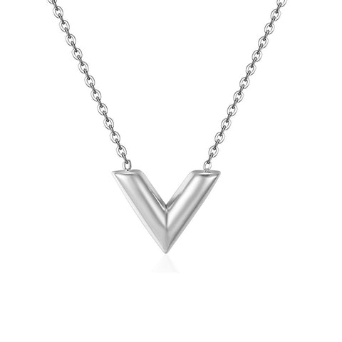 V Charm Pendant Necklace Essential Long 45cm 18 inch Womens Girls LV Louis Vuitton Designer Inspired Luxury Gift Titanium Steel Silver