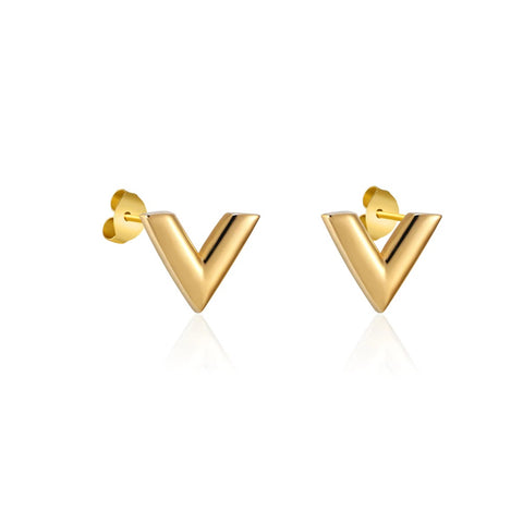 V Shape Stud Earrings Girls Women Louis Vuitton LV Essential Jewellery Christmas Birthday Gift Designer Inspired luxury Gold