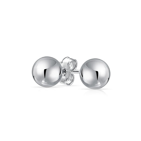 Sterling 925 Silver Bead Ball Stud Earrings 8mm