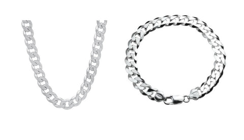 "8mm Thick Silver Curb Chain Bracelet + 18"" Necklace Set 925"