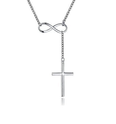 "Silver Infinity Cross Crucifix Necklace Pendant Rolo 18"" Inch Chain"