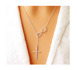 Silver Infinity Cross Crucifix Pendant Rolo