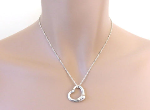 Open Heart Pendant Necklace Silver 925  18""