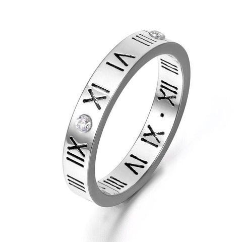 Silver Titanium Steel Love Roman Numerals Ring with Swarovski Crystals