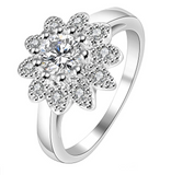 Cluster Simulated Diamond Round Cut Ring Sterling Silver 925 #9