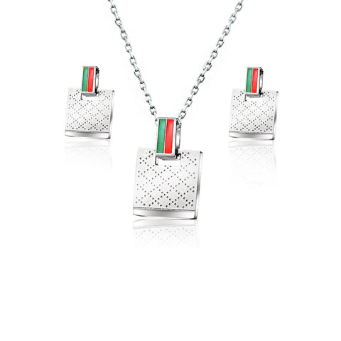 Dotted Stripe Monogram Style Necklace Pendant with Matching Earrings