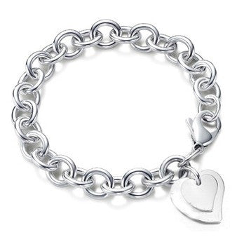 Designer Inspired Double Heart Charm Pendant Bracelet Sterling Silver 925 Lobster Clasp 20cm - Designer Inspired Co -