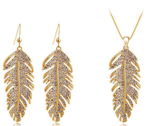 Designer Inspired Feather Necklace and Earring Set with Swarovski Elements - Designer Inspired Co - Gold - 1