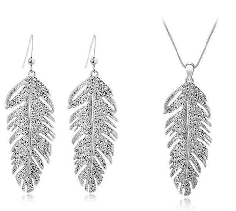 Designer Inspired Feather Necklace and Earring Set with Swarovski Elements - Designer Inspired Co - Silver - 2