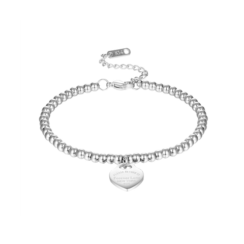 Forever Love Please Return To New York 925 Bracelet Tiffany and co Style Heart Charm Gift for Women Girls Birthday Christmas Valentines Silver