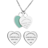 Designer Inspired Forever Love Tiffany Style Heart Shaped Necklace and Earrings Matching Set  - Silver Please Return To New York 925