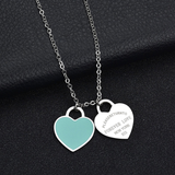 Return to New York Double Heart Necklace and Earrings Set - Silver Blue