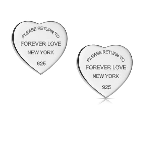 Titanium Steel Forever Love Heart Earrings Studs