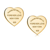 Forever Love Tiffany Style Heart Shaped Earrings Please Return To New York 925-  Gold