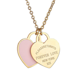 Return To New York Forever Love Double Heart Gold Pendant Necklace