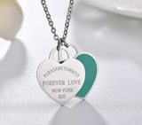 Forever Love Please Return To New York 925 Double Heart Necklace Pendant Tiffany Style Gift For Women Silver