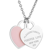 Return To New York Forever Love Double Heart Silver Pendant Necklace