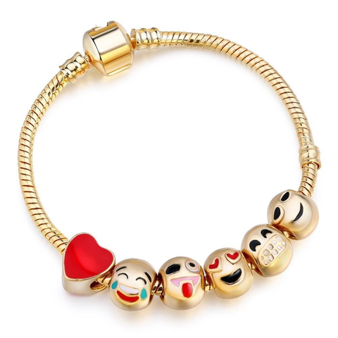 Gold 6 Emoji Beads 3mm Snake Charm Bracelet European 20cm