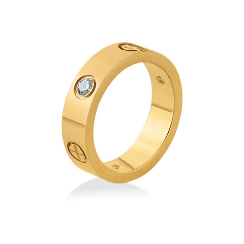Screw Cross Love Ring Titanium Steel Cartier Style by Designer Inspired Womens Girls Gold