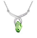 Designer Inspired Regal Tear Drop Swarovski Elements Silver Plated 925 Necklace - Designer Inspired Co - Emerald Green - 2