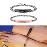 His and Hers Couple Beauty Beast Steel Matching Bracelets