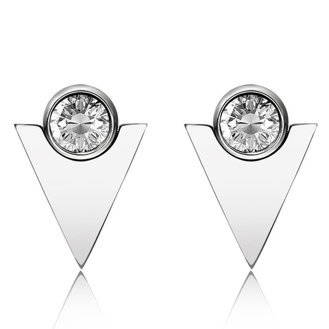 Silver Steel Triangle Geometric Earrings with Swarovski Crystal Elements