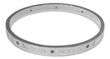 Roman Numerals Titanium Steel Cuff Bracelet Bangle With Austrian Crystals
