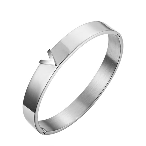 V Essential Bracelet Lv Louis Vuitton Style Titanium Steel Gift for Women Girls Girlfriend Christmas Birthday Silver