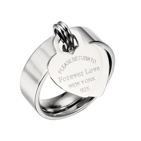 Silver Titanium Steel Forever Love Heart Tag Ring