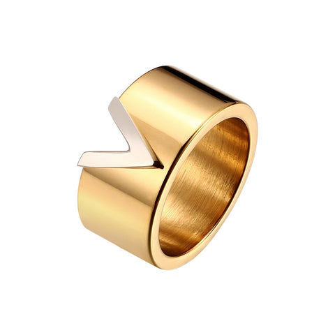 Gold V Shape Titanium Steel Ring