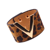 Wide Cuff Leather Wrap Bracelet Mens Womens Unisex V Shape Valentino LV Louis Vuitton Style Hermes Designer Inspired Brown Leopard Print Luxury