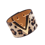 Wide Cuff Leather Wrap Bracelet Mens Womens Unisex V Shape Valentino LV Louis Vuitton Style Hermes Designer Inspired Nude Leopard Print