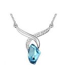 Designer Inspired Regal Tear Drop Swarovski Elements Silver Plated 925 Necklace - Designer Inspired Co - Light Blue - 1
