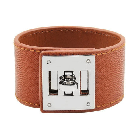 Designer-Inspired-Dog-Collar-Leather-Bracelet-Hermes-Style-Collier-De-Chien-Luxury-Cuff-Women-Simple-Steel-Lock-Wide-Wrap-Charm-Bracelets-Female-Jewelry-Brown