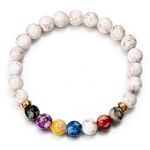White Lava 7 Chakra Beads Charm Bracelet for Yoga Meditation Healing Unisex Design