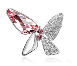 Designer Inspired Butterfly Swarovski Brooch Rhodium Plated - Designer Inspired Co - Pink - 3