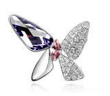 Designer Inspired Butterfly Swarovski Brooch Rhodium Plated - Designer Inspired Co - Purple - 4