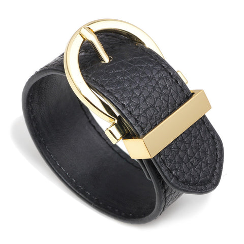Round-Belt-Hermes-Style-Dupe-Wide-Cuff-Leather-Bracelet-Women-Men-Unisex-Girls-Accessories-Designer-Inspired-Black
