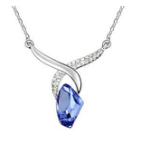 Designer Inspired Regal Tear Drop Swarovski Elements Silver Plated 925 Necklace - Designer Inspired Co - Sapphire Blue - 4