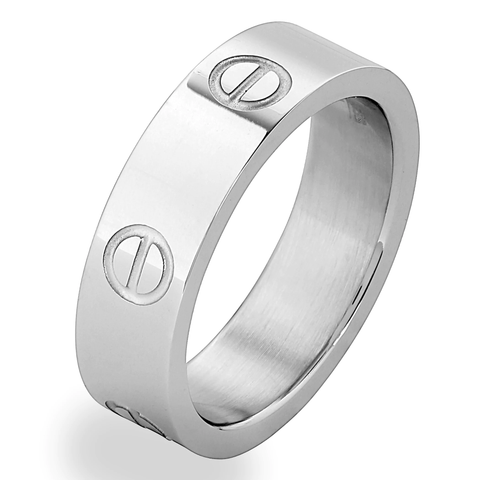 Silver Titanium Steel Love Ring