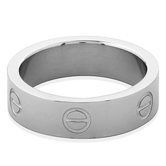 Silver Titanium Steel Love Ring Cartier Style