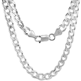 "4mm Silver Curb Chain Necklace Sterling 925 Plated Mens Boys Womens Unisex Argos Long Short 16"" 18"" 20"" 22"" 24"" 26"" 28"" 30"""